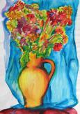 Kvety pred záclonou