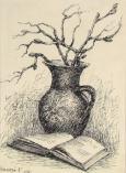 Zátišie s knihou a džbánom
