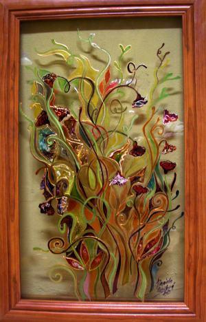 Poľné kvety na skle