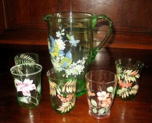 Secesný džbán s 5 pohármi