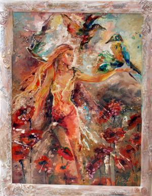 Lietajúca žena medzi makmi