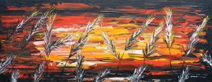 Červený západ slnka v tráve