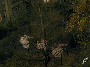 Pohľad do jesenného polnočného dvora