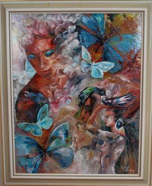 Žena s modrými motýľmi