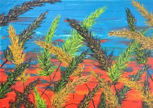 Tráva v tyrkysovej oblohe