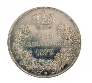Nemecko Sasko 2 Thaler 1872 Zlaté výročie svadby