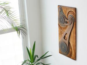 Drevený obraz, 3D dekorácia na stenu 023
