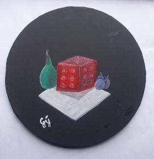 Kocka, hruška a tri slivky