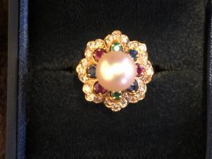 Prsteň s perlou a briliantami, zafír, smaragd, rubín