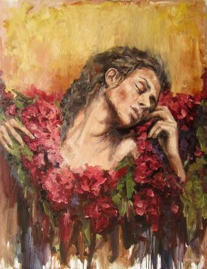 dáma v kvetinách