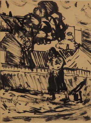 Žena pred domom